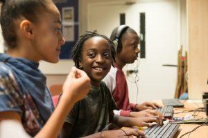 Children working at computers