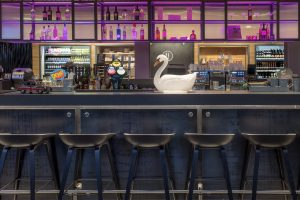 Bar stools with pink lighting and decorative swan