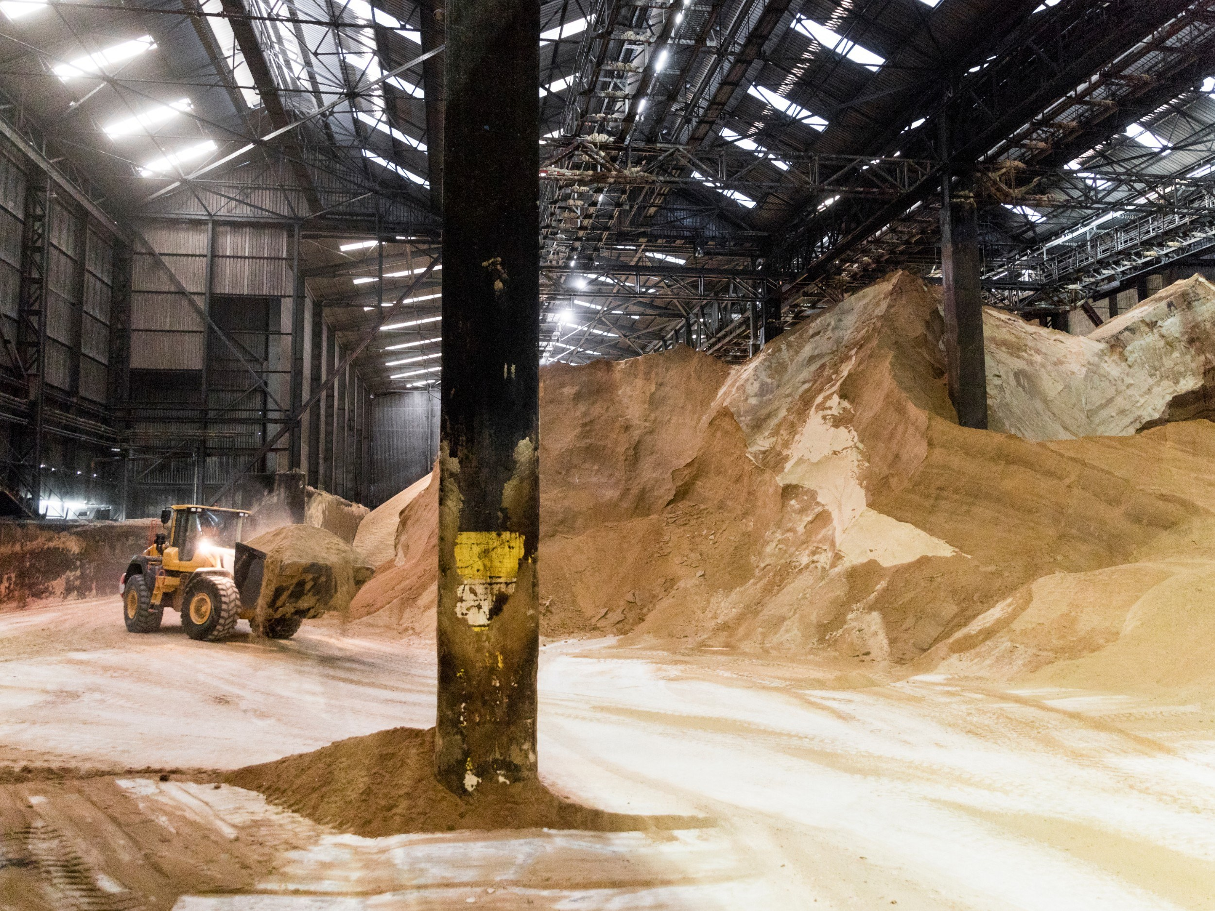 Mountains of raw sugar in a warehouse. A truck is driving along, scooping up sugar. It is around 20% as high as the sugar mountains.