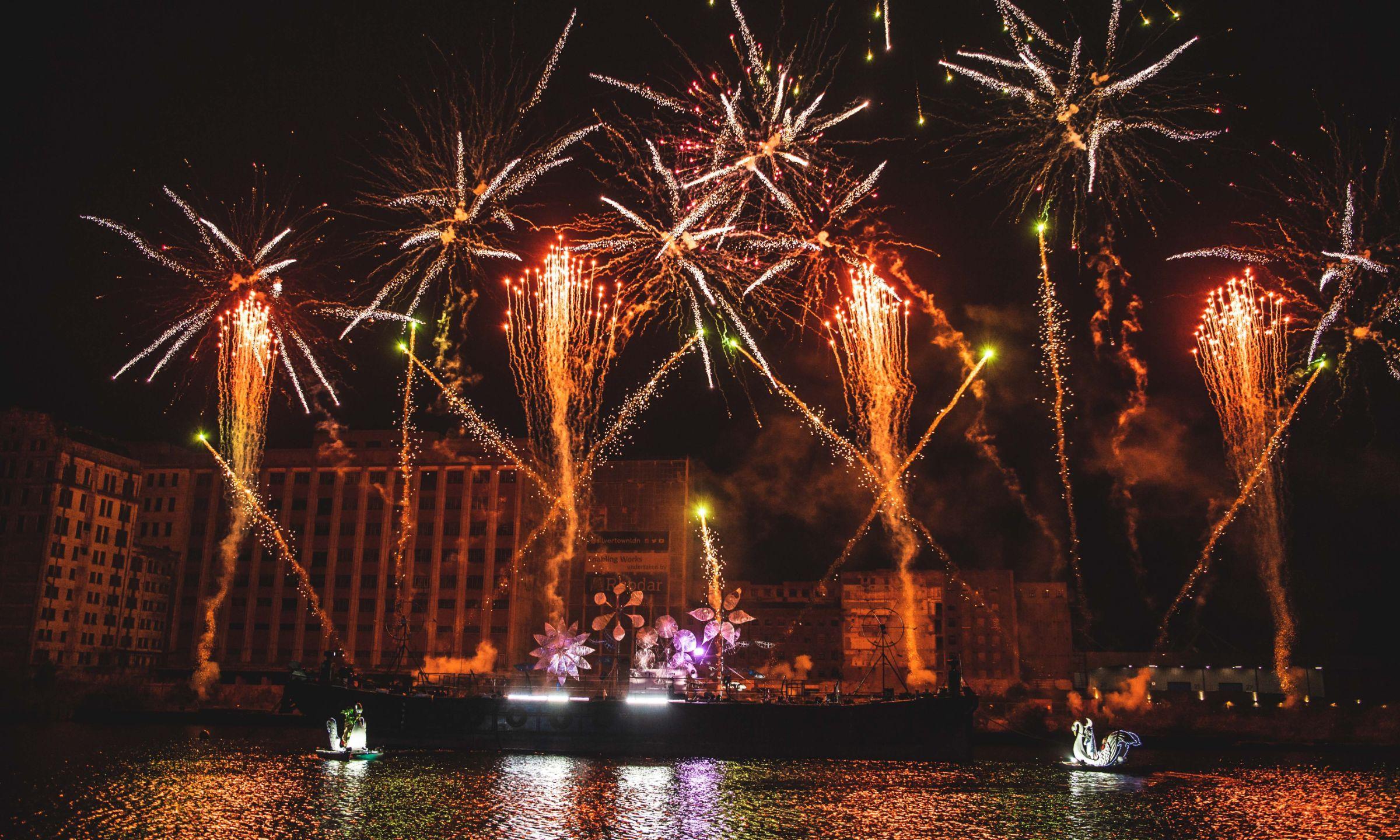 Fireworks above Millennium Mills at the Royal Docks