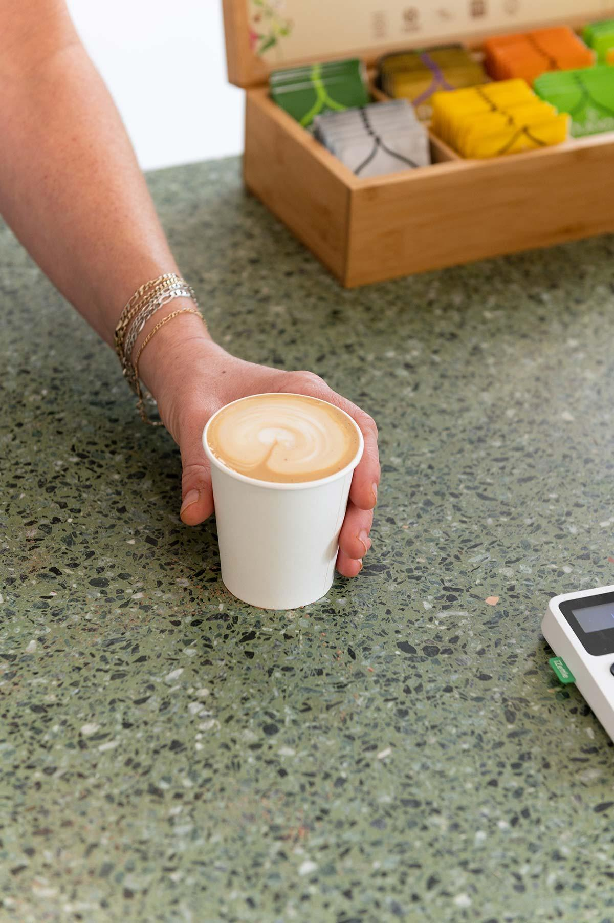 Latte coffee on counter