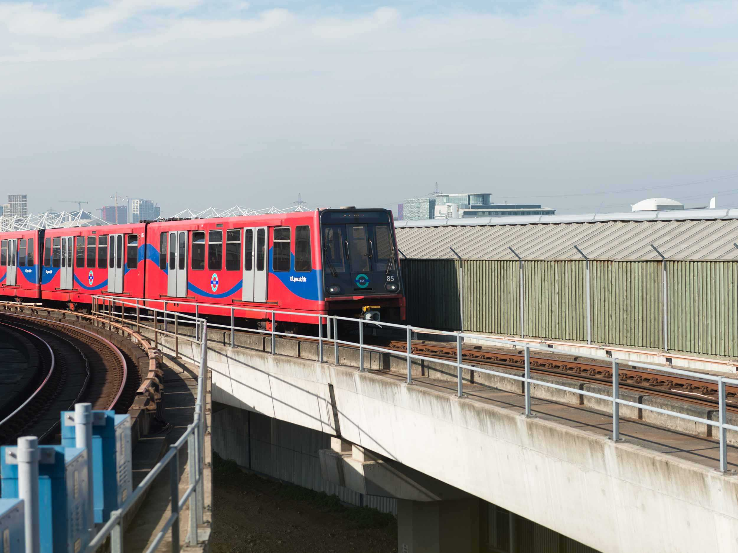 DLR train approaching along a track