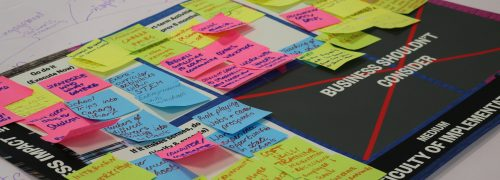 An idea board with post-it notes covering it