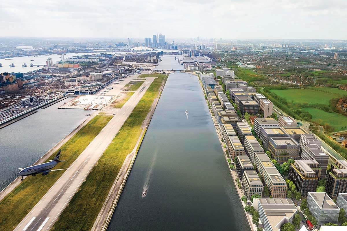 Scene of a dock from above, with London City Airport on the left