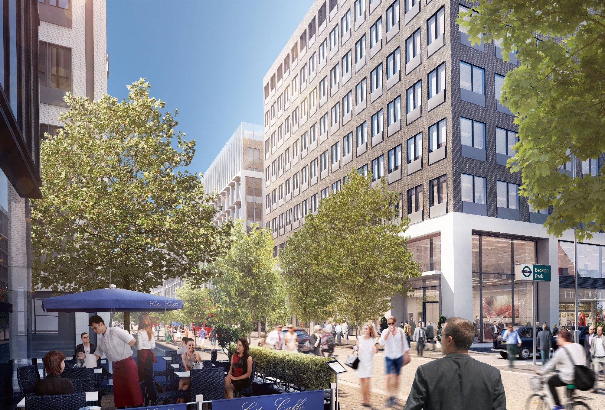 CGI impression of bustling street with people and retail on the ground floor and office buildings on either side