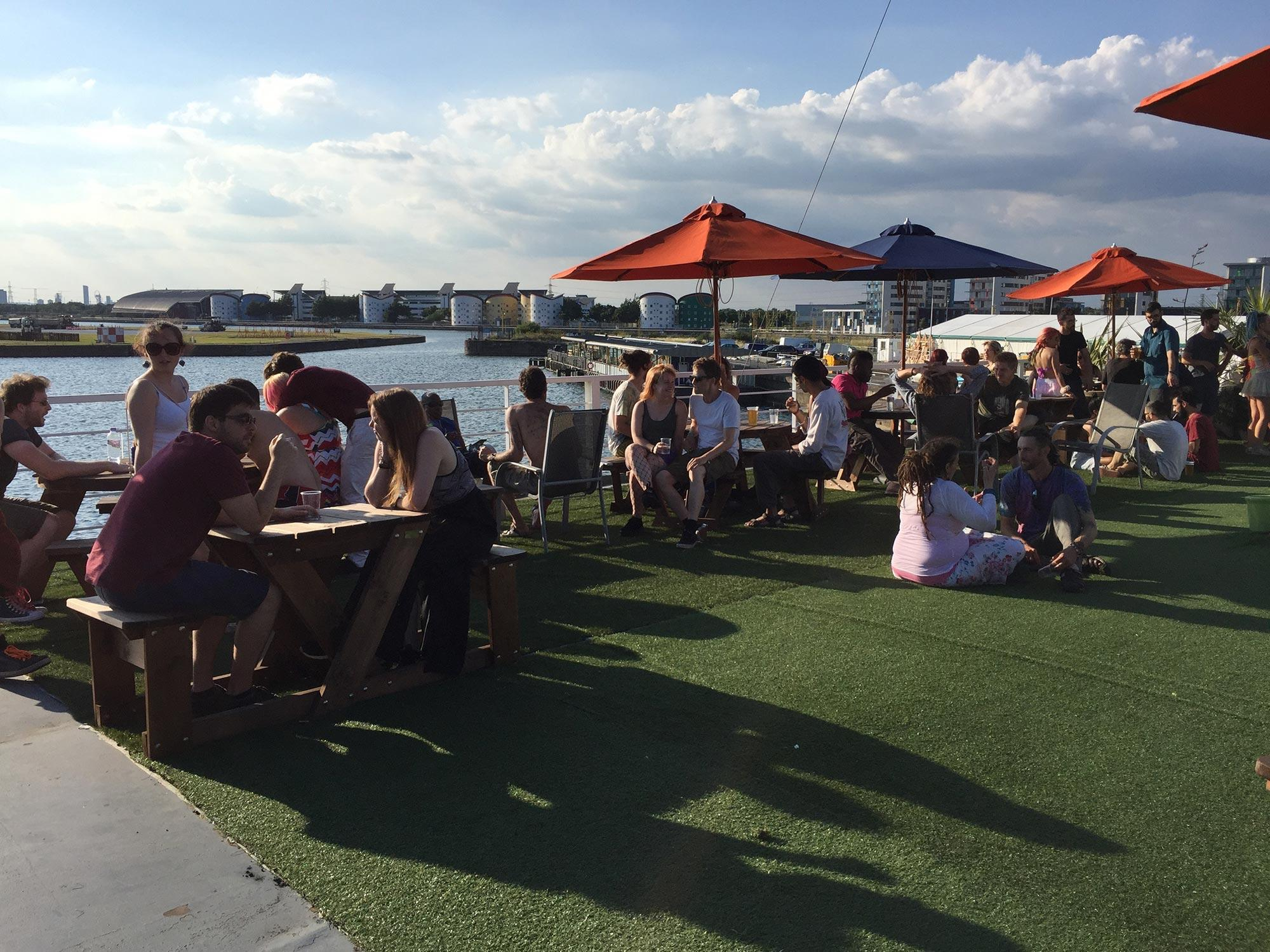A party overlooking the Royal Docks