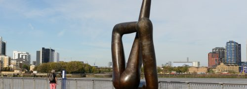Giant bronze statue that looks a bit like legs, by the edge of the Thames