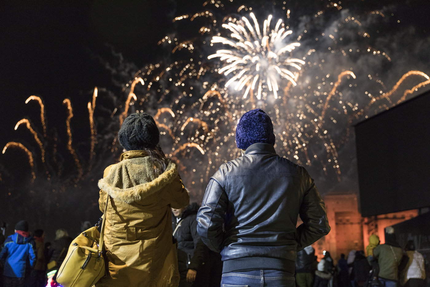 Two people with their backs to the camera watching fireworks