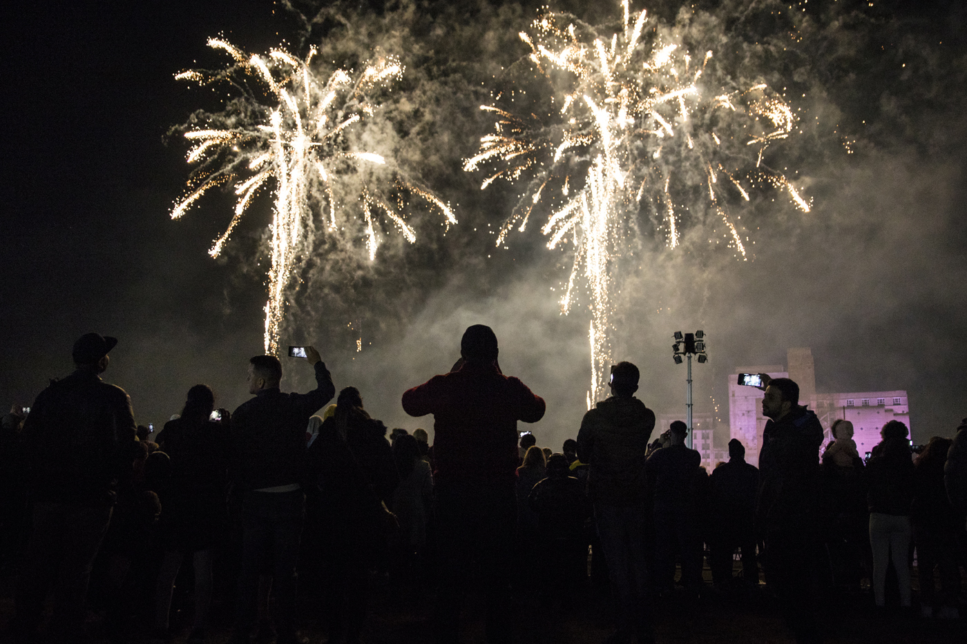 Night sky filled with fireworks with silhouetted crowd looking up at them