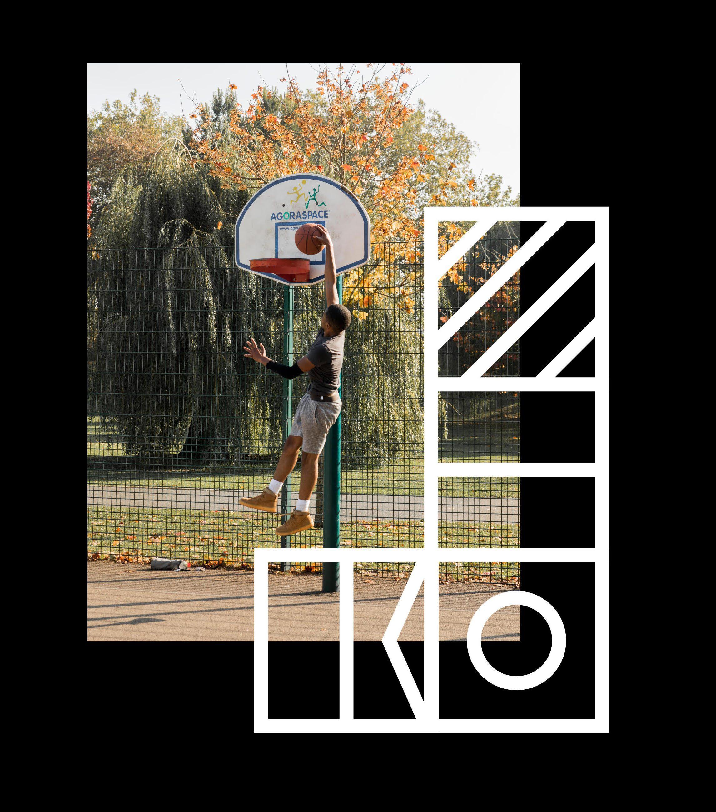 Royal Docks branding with image of young man playing basketball