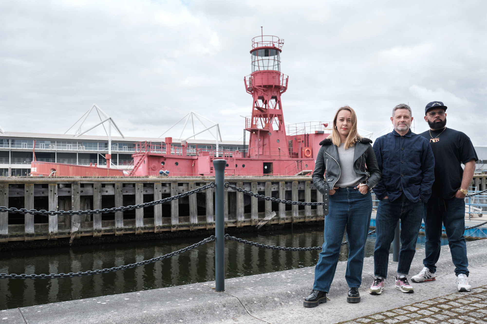 The ARRIVAL team outside Lightship 93, a historic lighthouse vessel in the Royal Docks