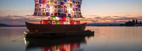 A ship with a colourful patchwork sail symbolising tolerance