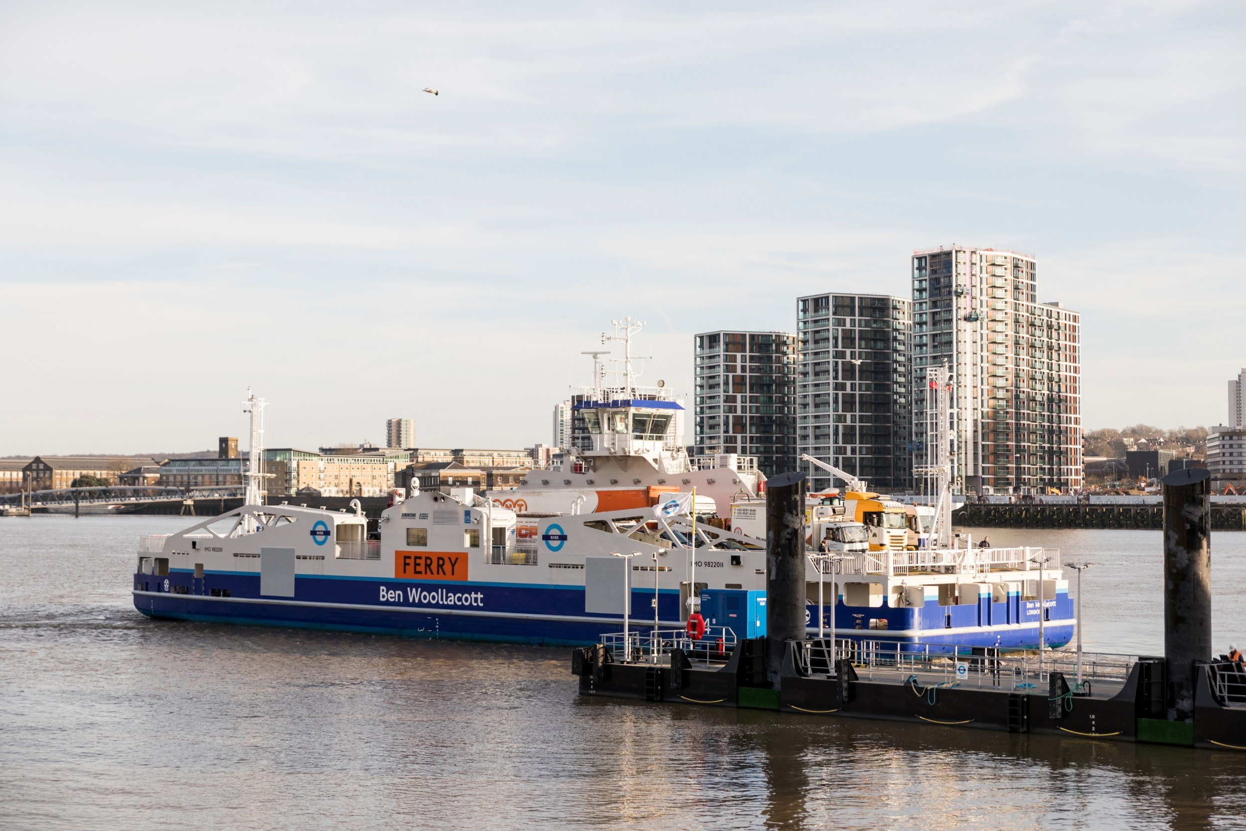 The new Woolwich Ferry model arriving at a dock