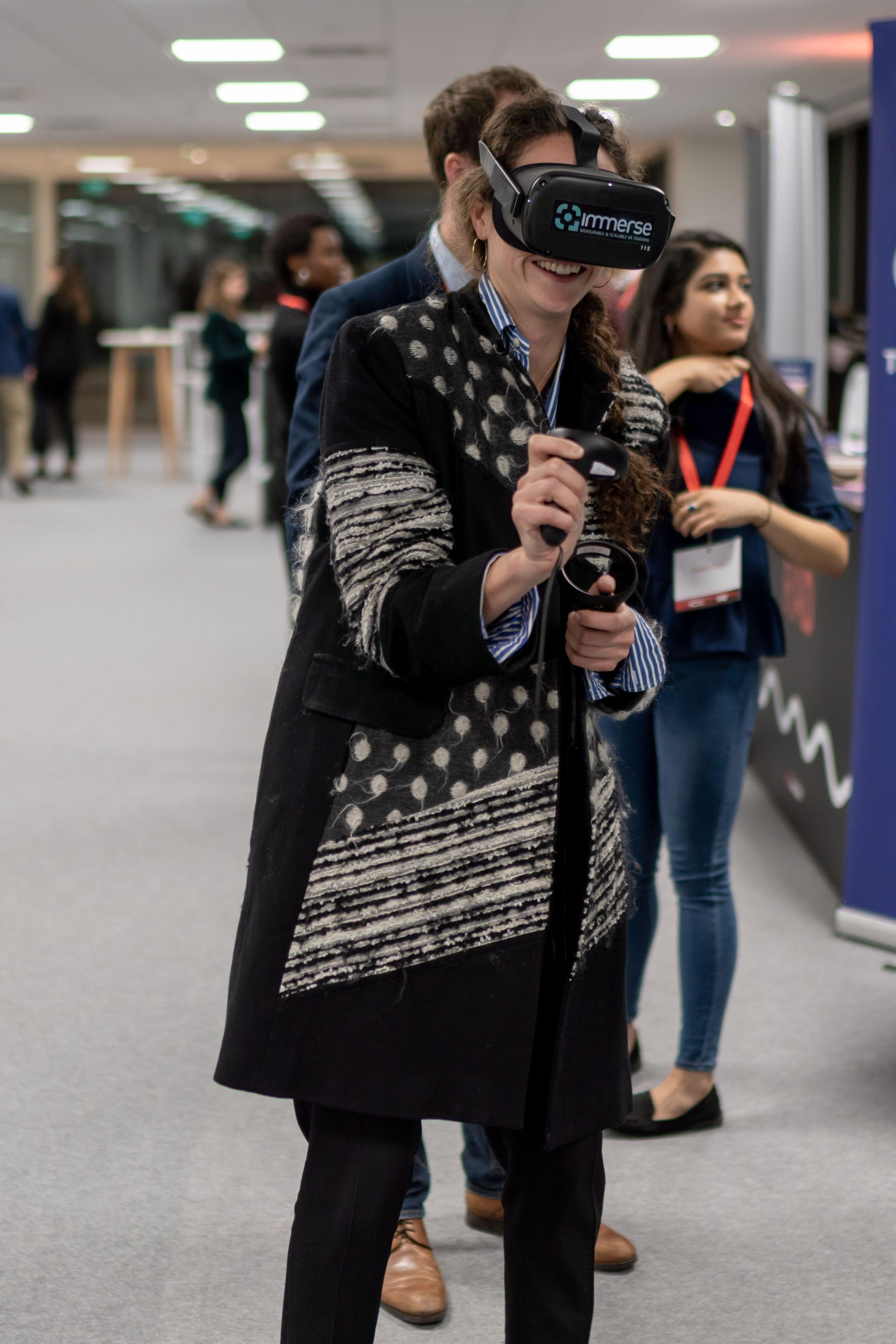 Woman using VR headset at ABP event day