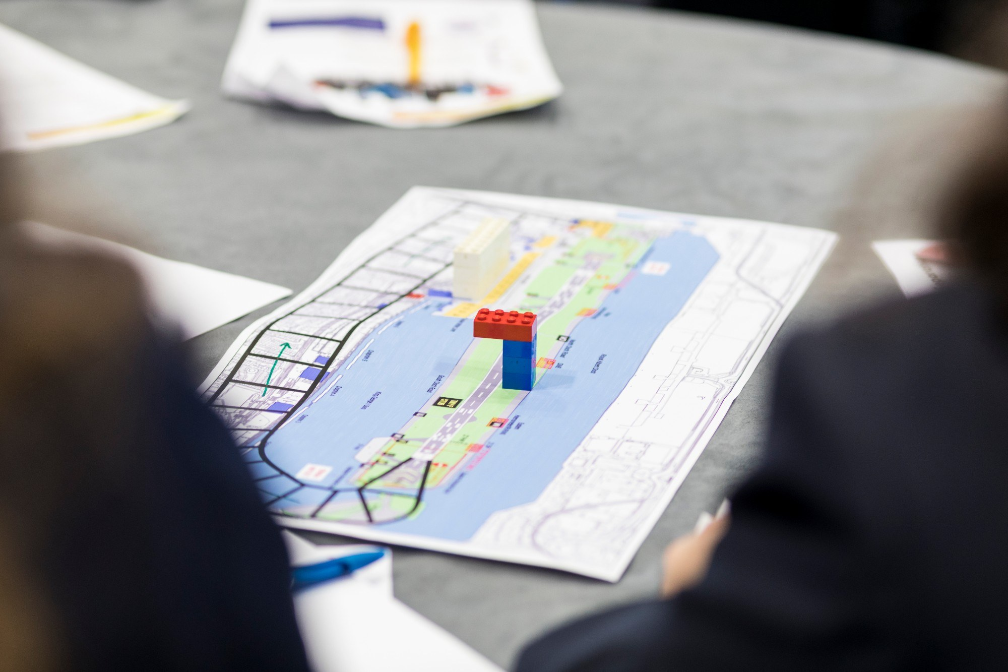 A map of LCY with a little lego model on it symbolising an air traffic control tower