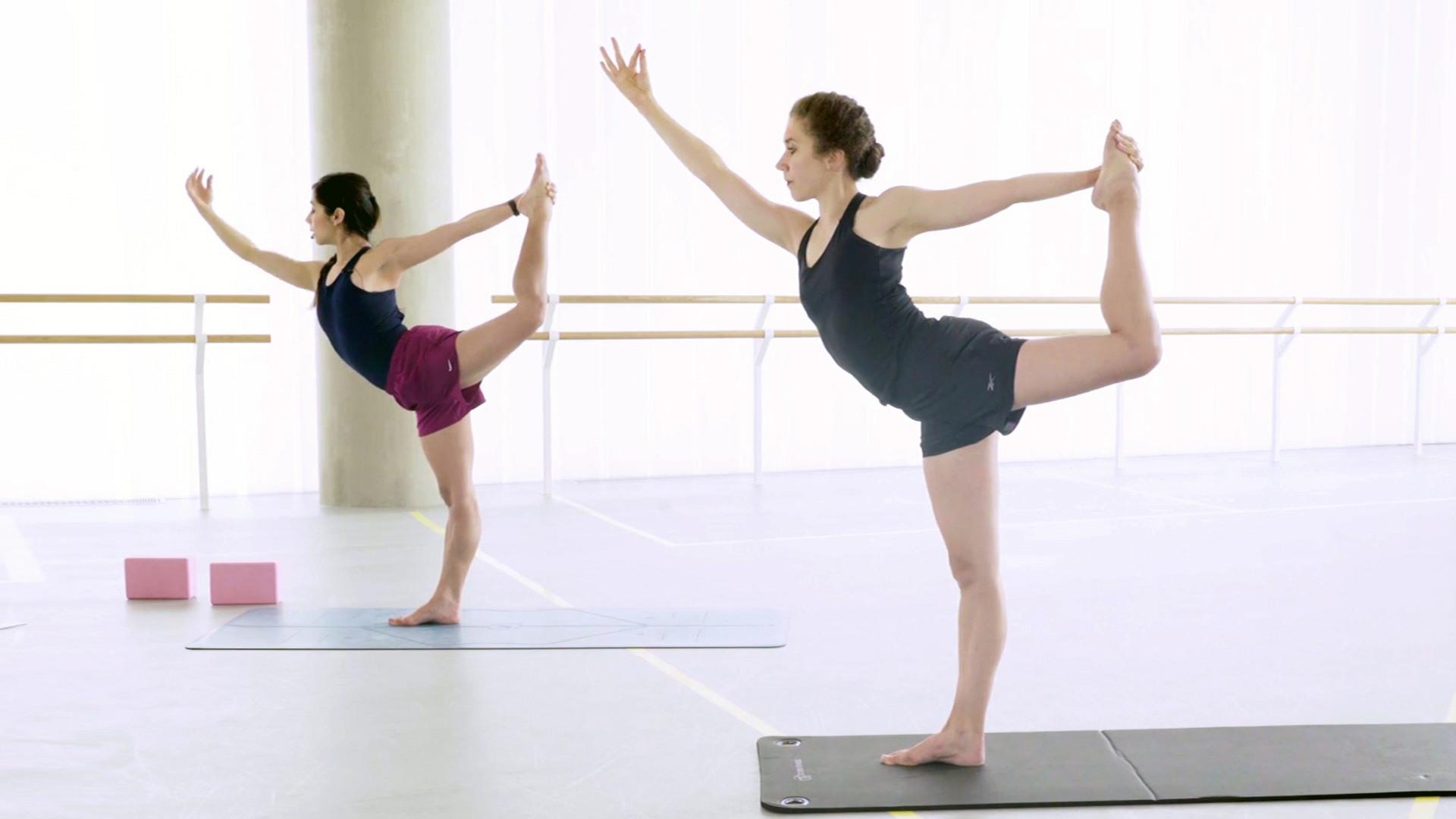 Two women practising ballet