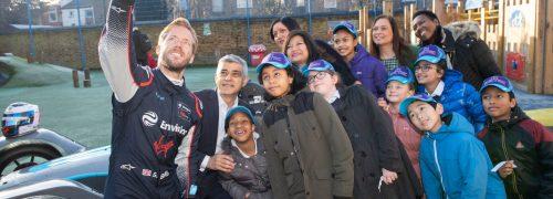Mayor of London and Mayor of Newham and Sam Bird at Salisbury Primary School