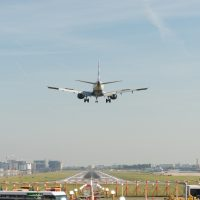 A plane landing at London City Airport