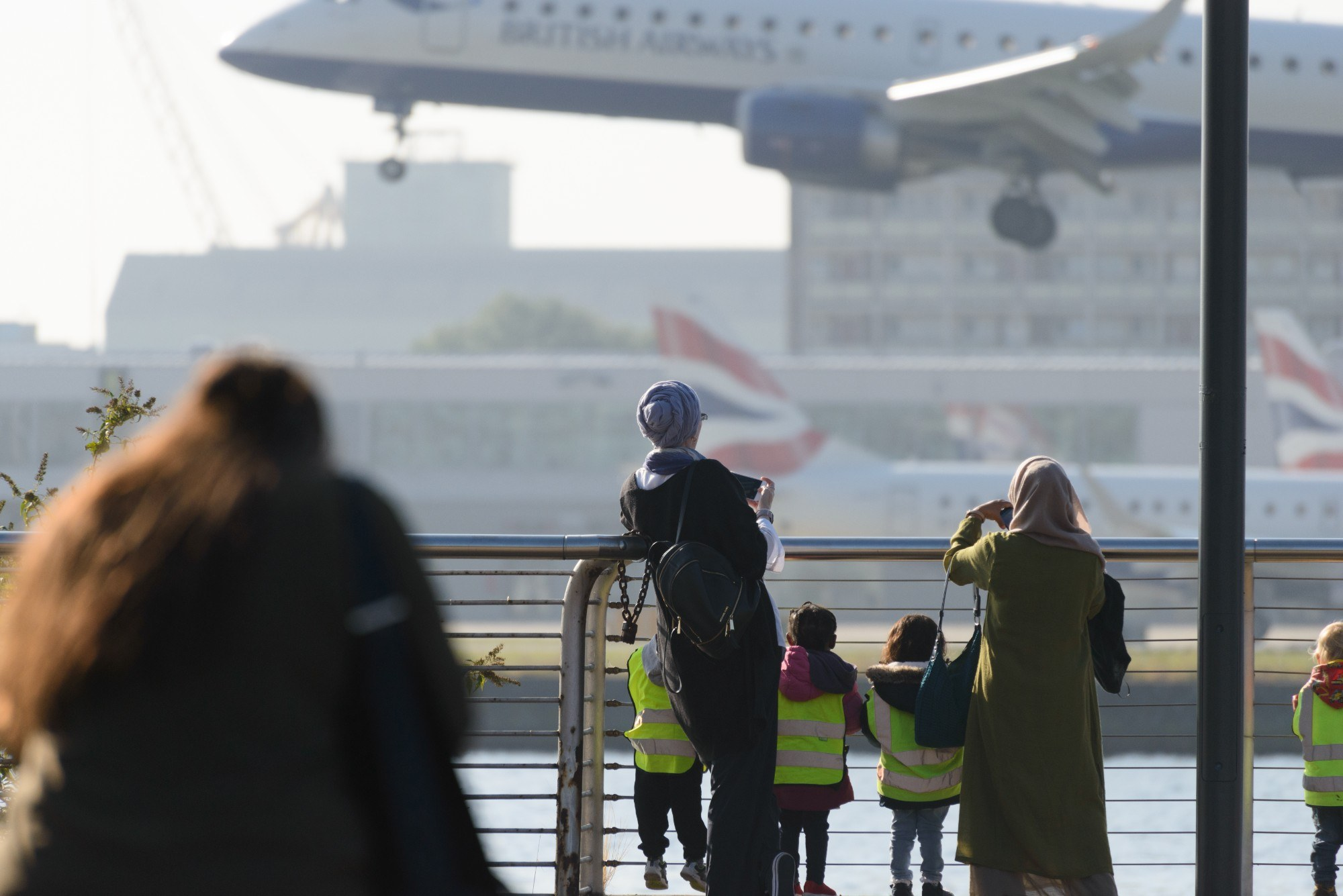 Plane watchers at London City Airport