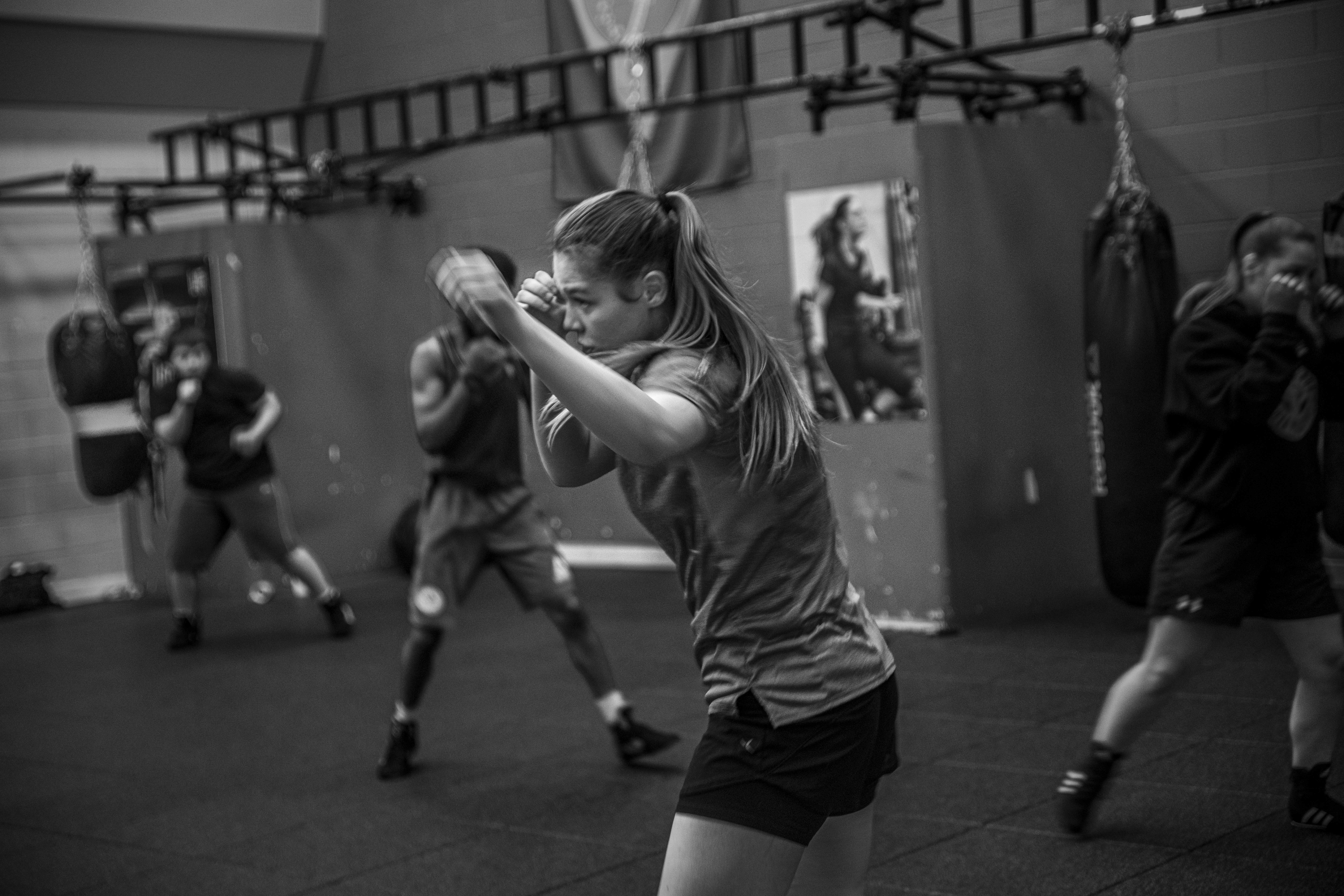 Woman at boxing practice