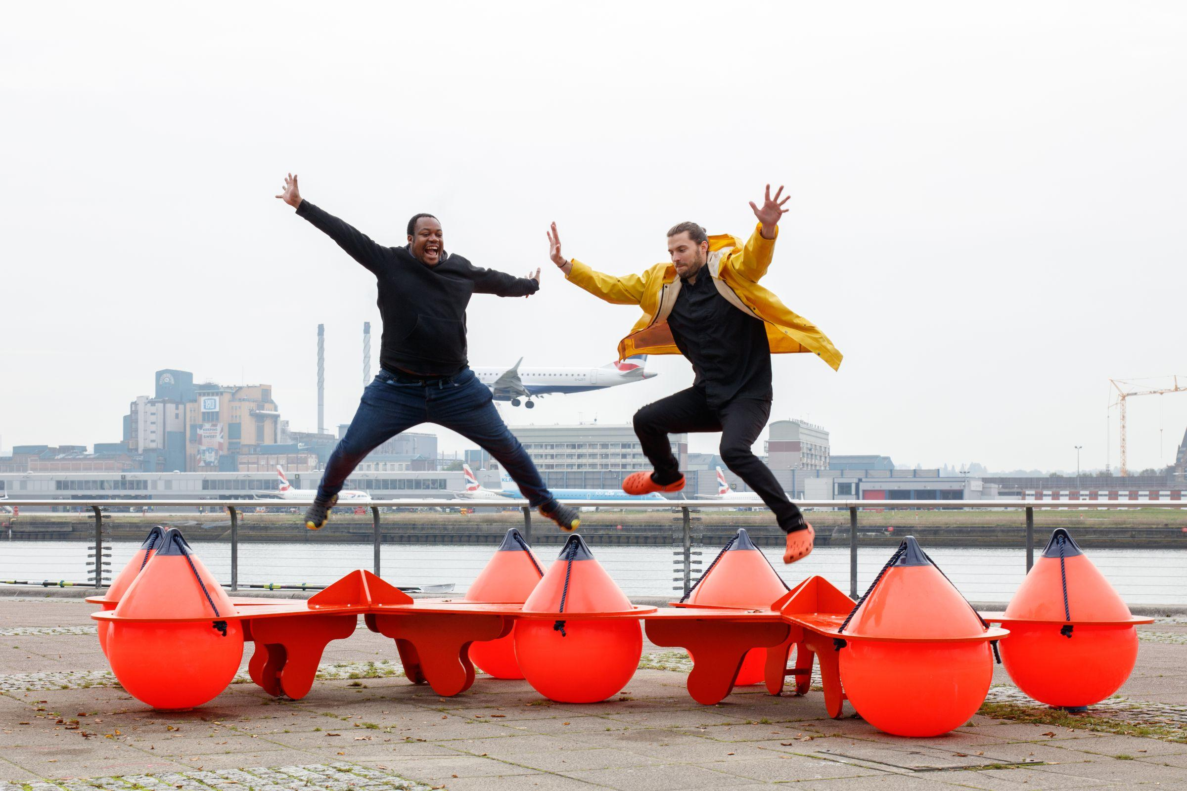 The Buoys are Back in Town bench sculpture by McCloy + Muchemwa