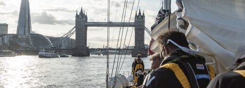 A view of Tower Bridge from a boat