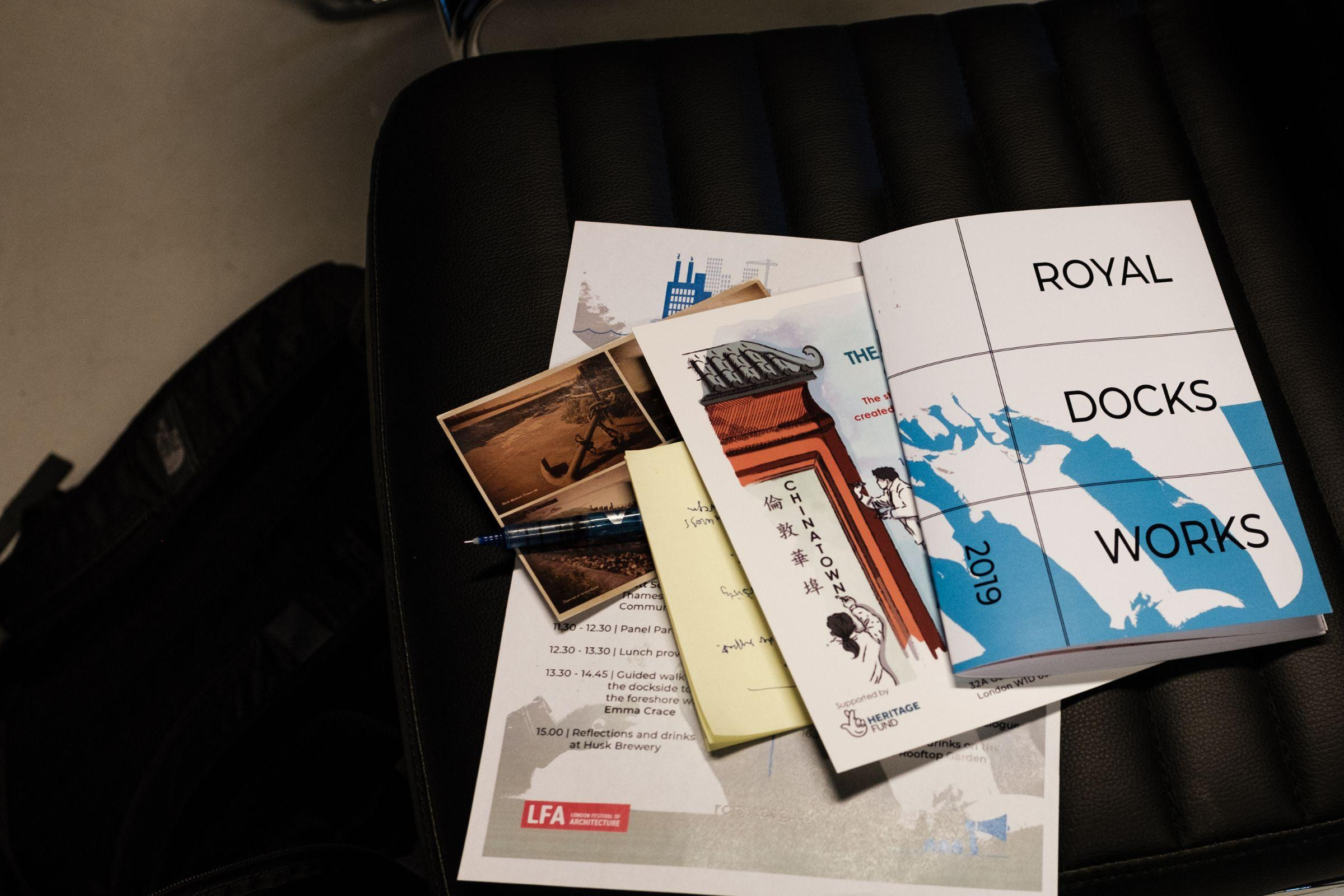 A selection of pamphlets from the Royal Docks community