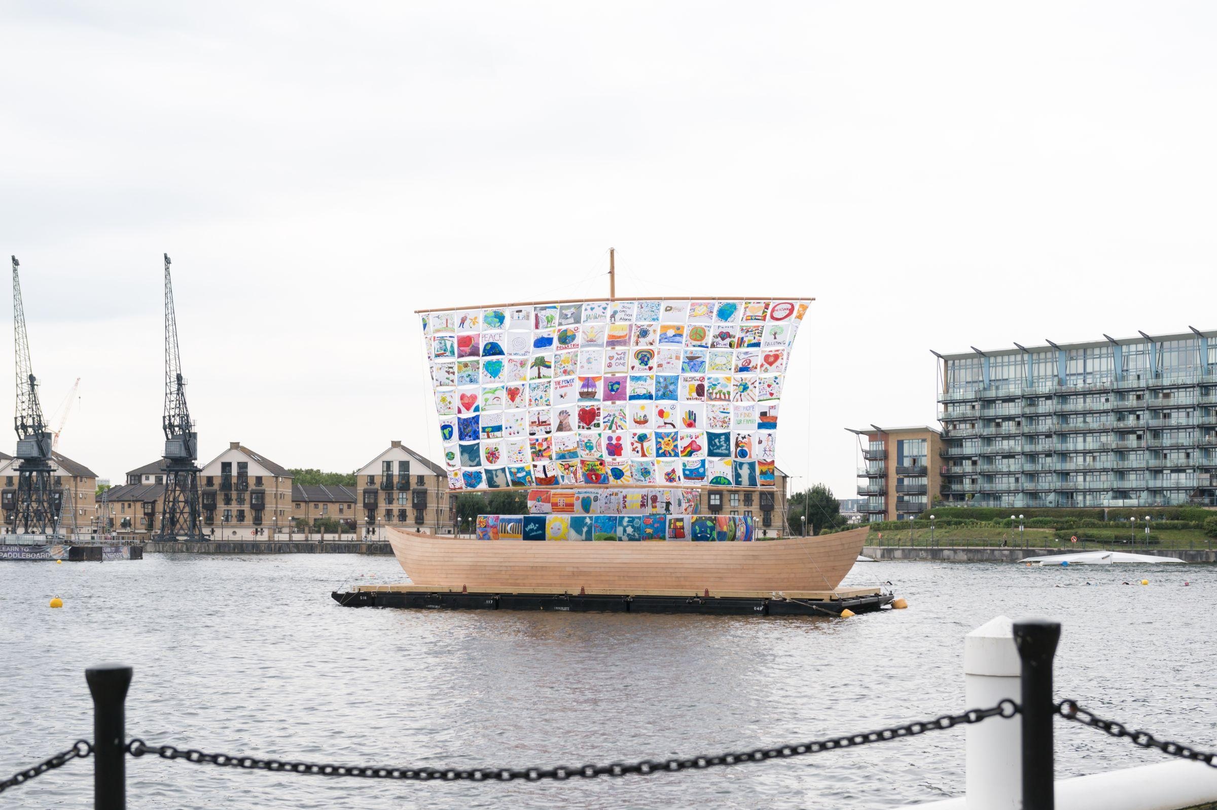 The Ship of Tolerance on the water at the Royal Docks