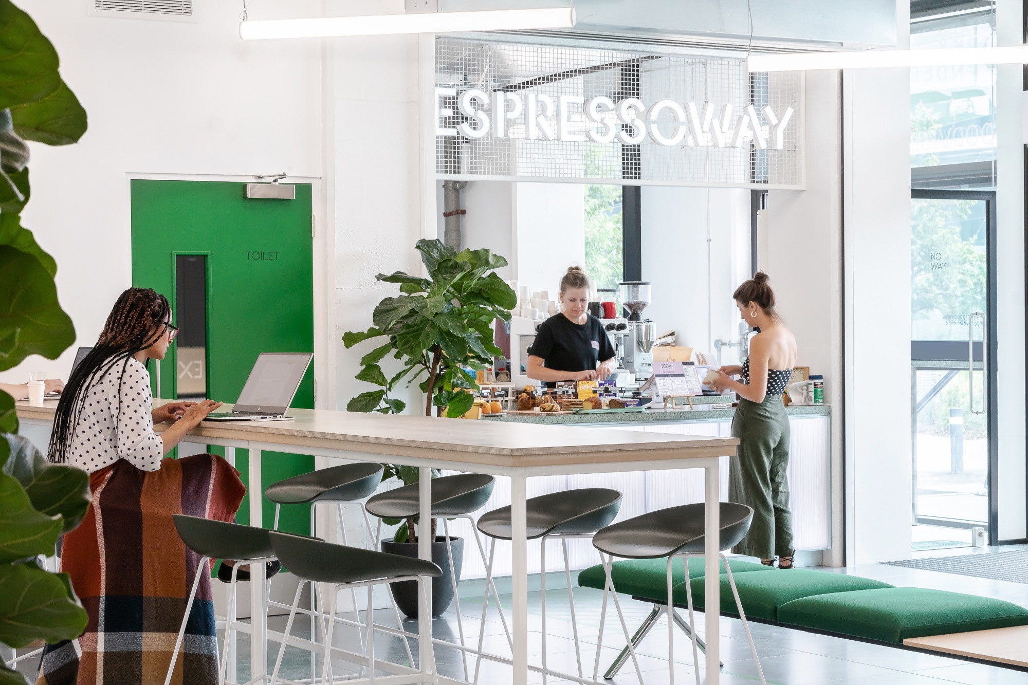 The Expressway's well-lit entrance, with cafe and tables to work at