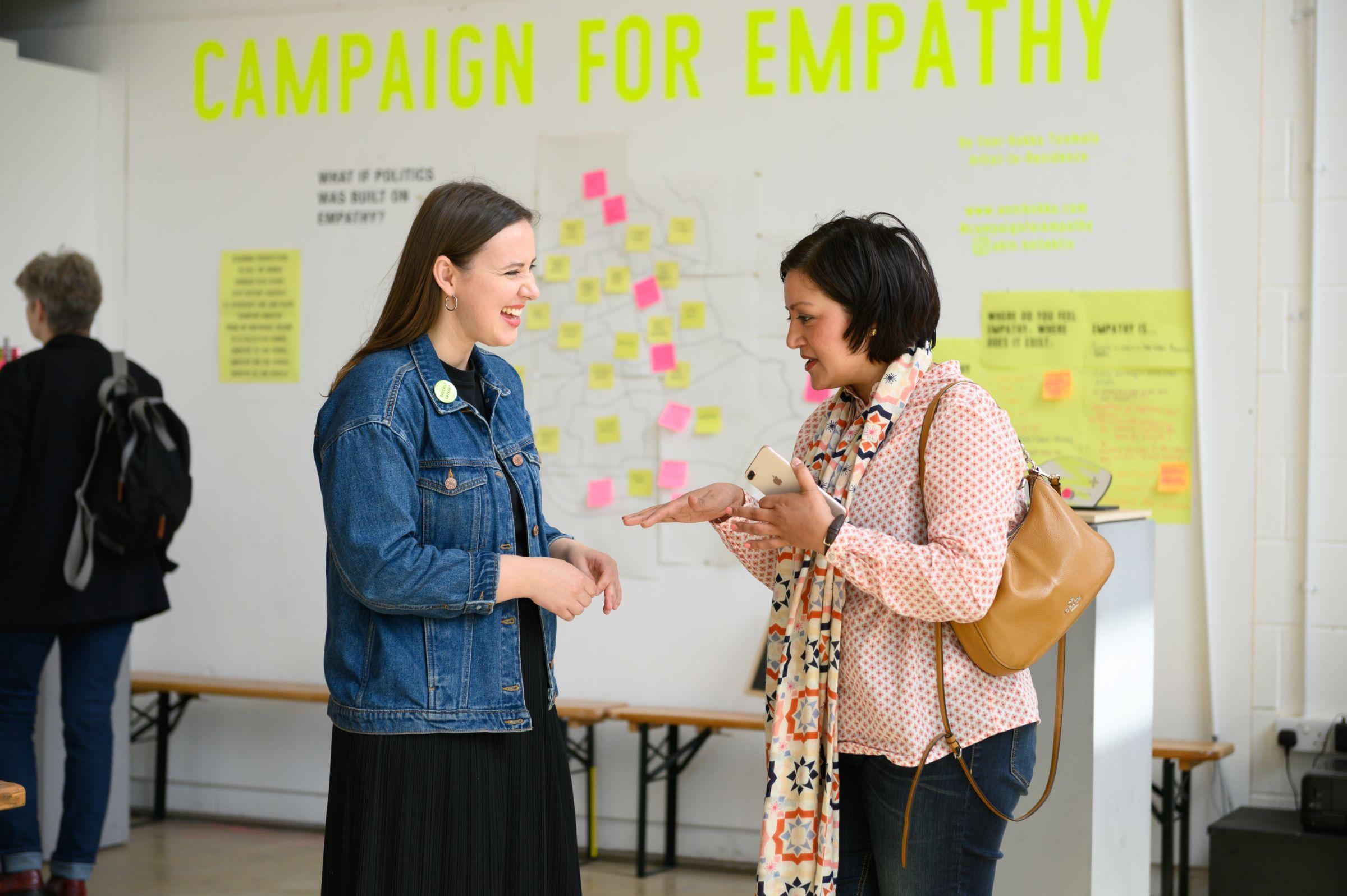 Enni-Kukka Tuomala talking with Rokhshana Fiaz