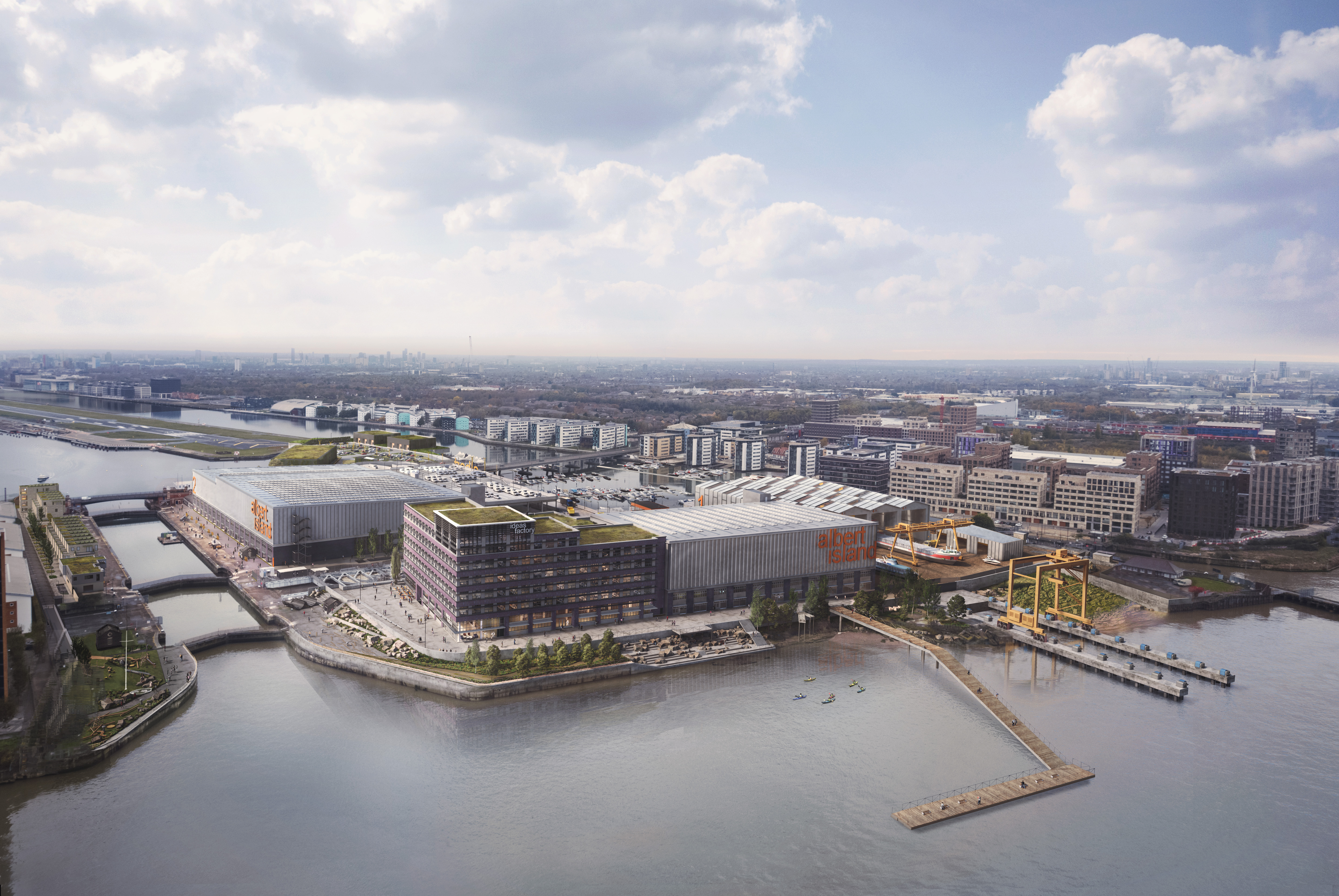CGI impression of buildings and quays on Albert Island