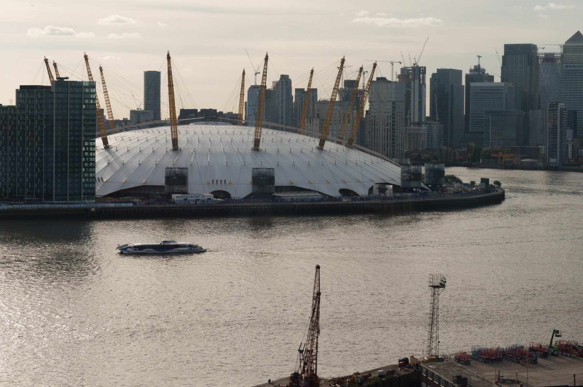 View of the O2 and the Thames from above