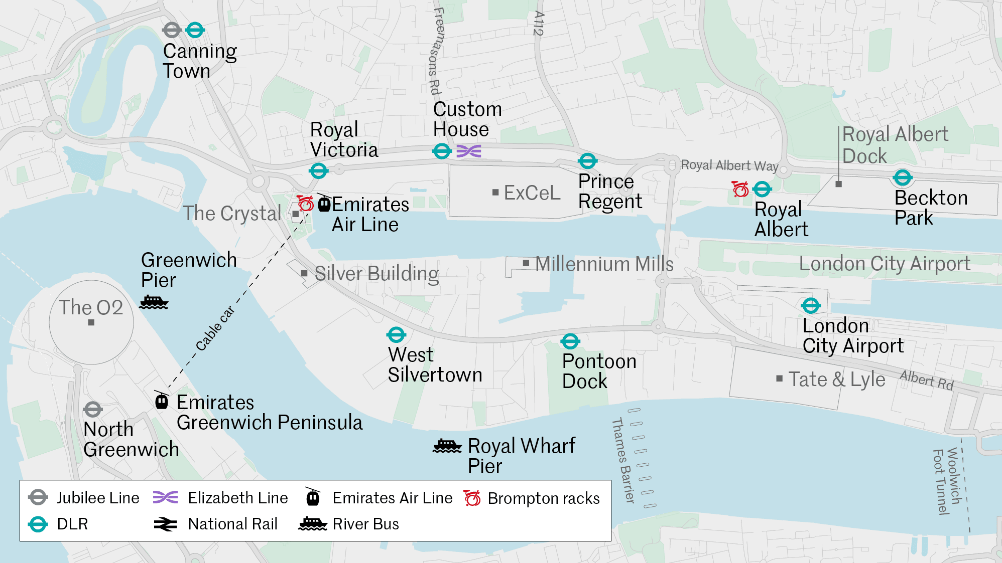 Map showing cycle locations outside the Crystal building (near the Emirates Air Line cable car) and next to Royal Albert DLR station.
