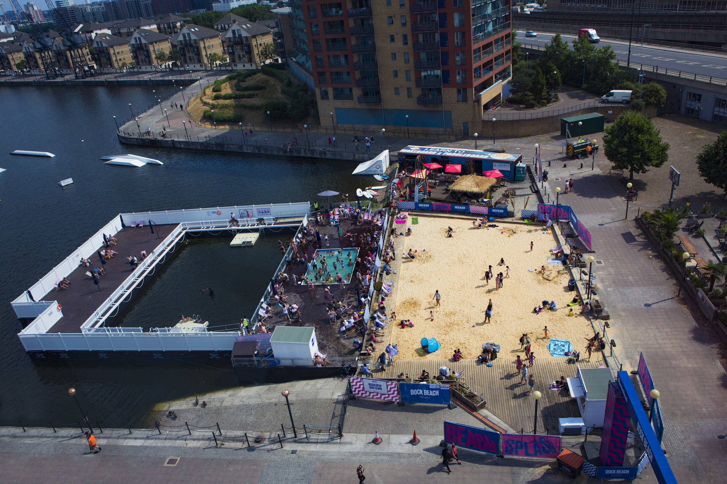 An overhead image of the beach and pool at the Royal Docks