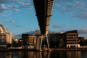 Underside of a bridge at the Royal Docks