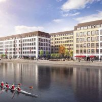 CGI impression of office blocks next to the water