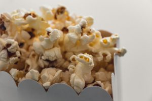 A close-up of popcorn in a bag
