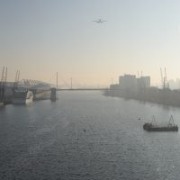 A foggy sunrise over the Royal Docks
