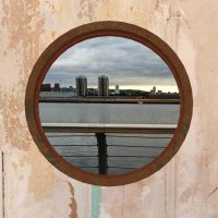 The Royal Docks through an AR porthole