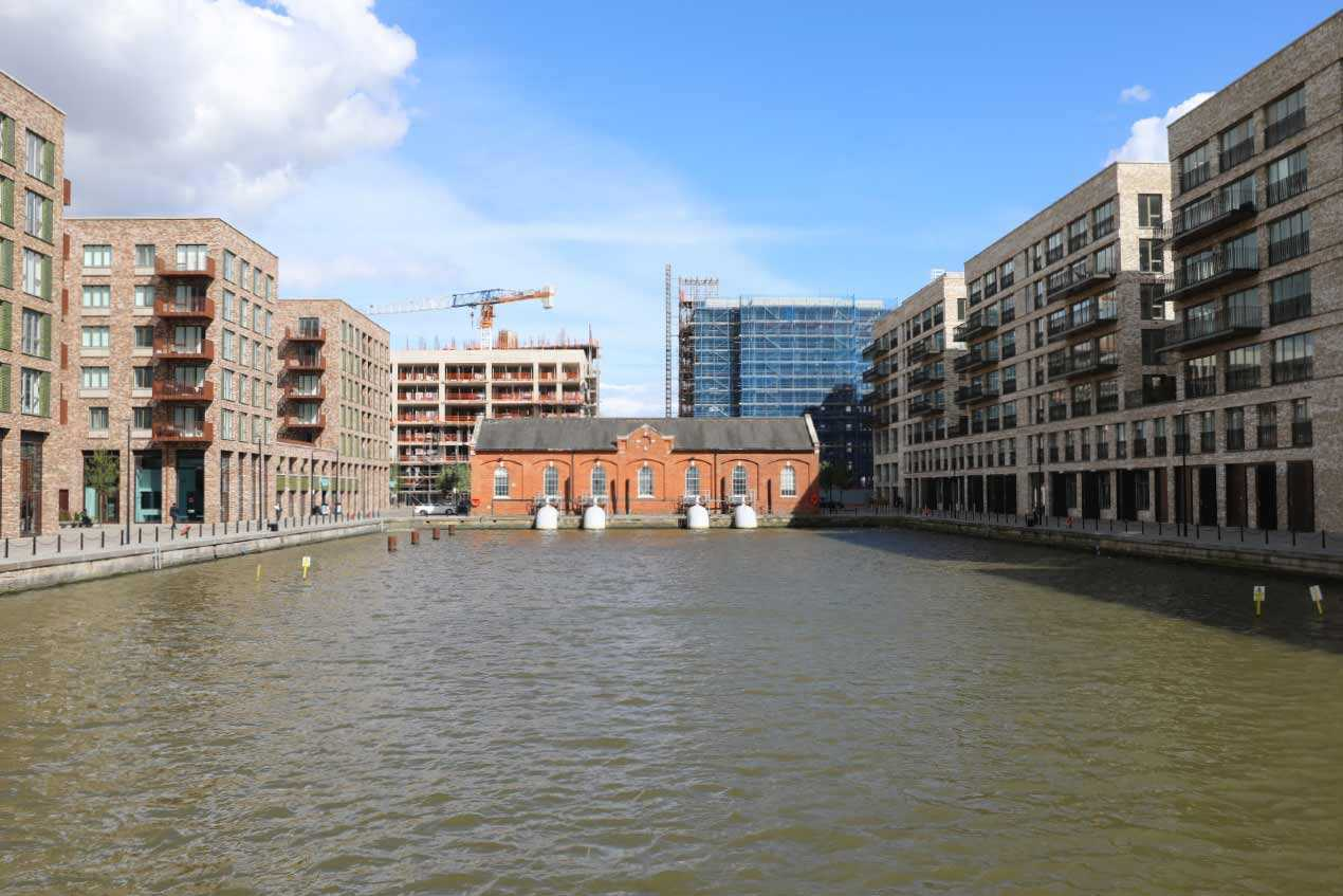 Looking down Royal Albert Wharf towards the pump house