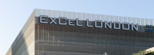 ExCeL London signage at the top of the building